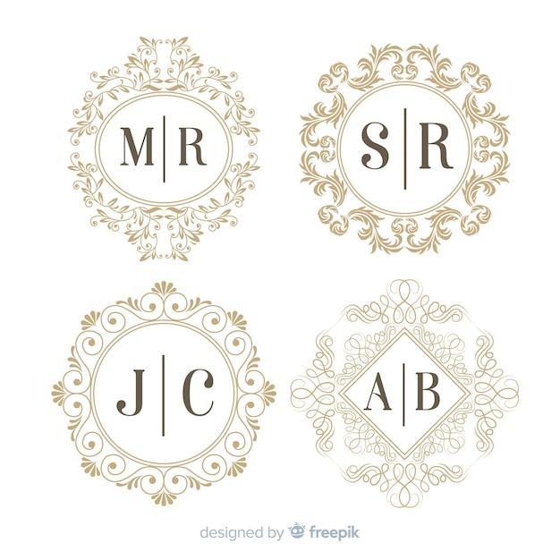 Collezione di nozze monogramma incisione Vettore gratuito