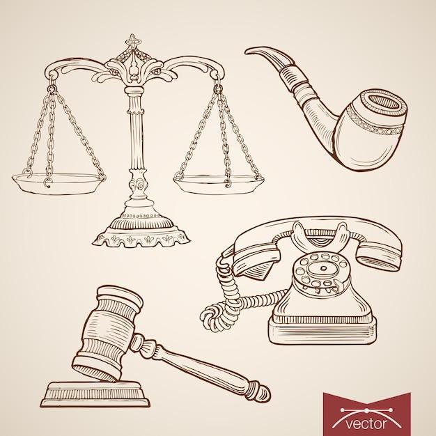 ヴィンテージ手描きの法と正義のコレクションを彫刻します。鉛筆スケッチ裁判官裁判天秤座とガベル、探偵パイプと電話 Premiumベクター