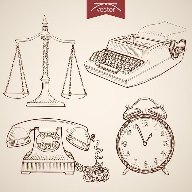 ヴィンテージ手描きの法と正義のコレクションを彫刻します。鉛筆スケッチジャッジトライアルlibra、電話、時計、タイプライター Premiumベクター