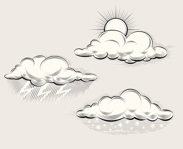 Engraving weather. sun behind a cloud, rain, snow and lightning and storm. vector illustration Free Vector