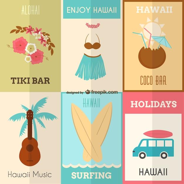 Enjoy Hawaii posters set Free Vector