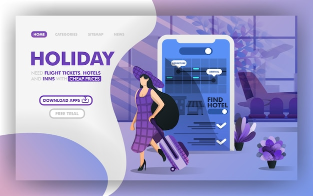 Enjoy holiday and flight Premium Vector