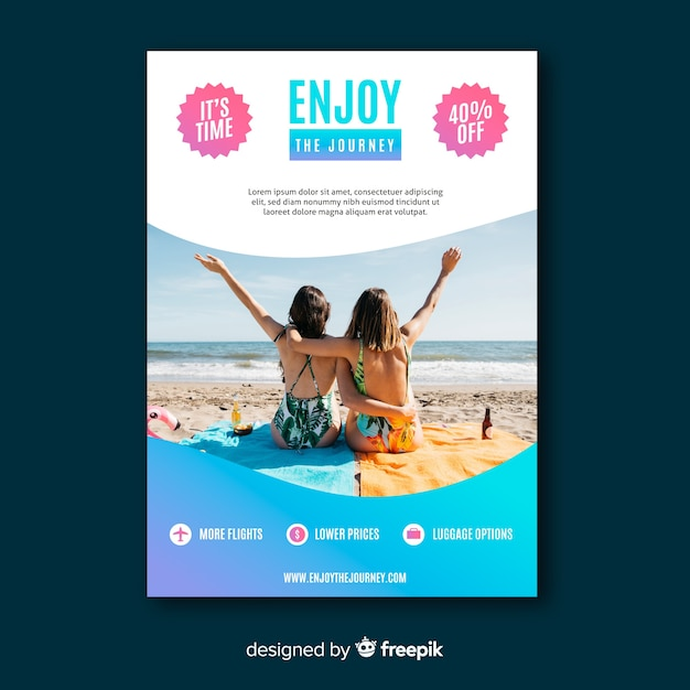 Enjoy the journey travel flyer with photo Free Vector