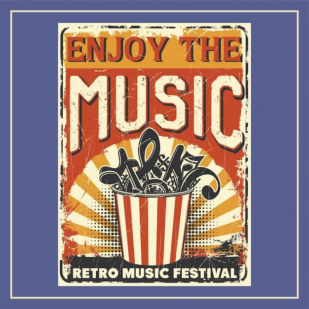 Enjoy the music poster Premium Vector