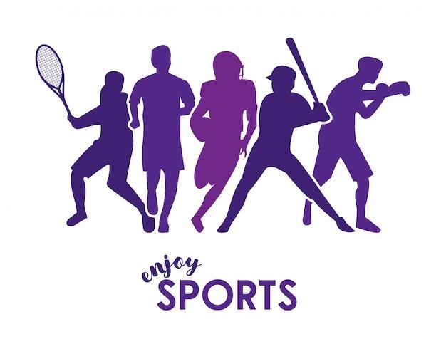 보라색 운동 선수 실루엣으로 스포츠 텍스트를 즐기십시오. 프리미엄 벡터