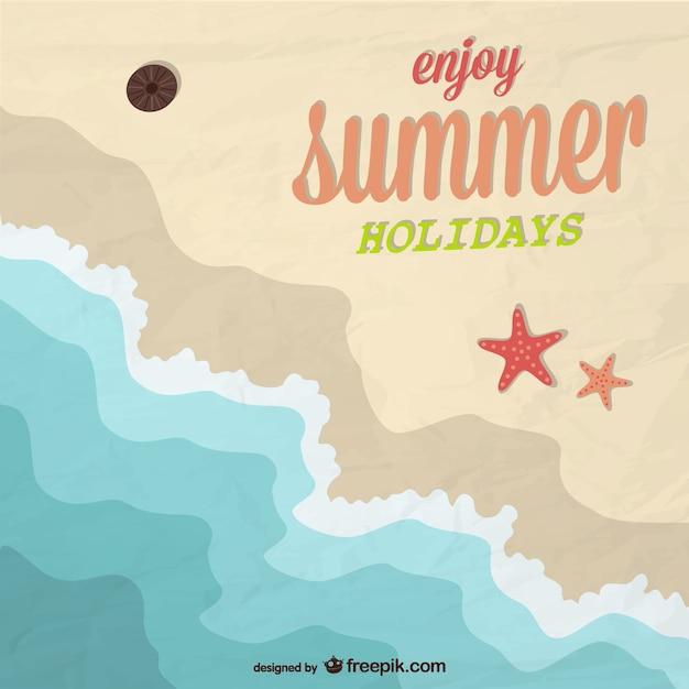 Enjoy summer background in a beach Free Vector