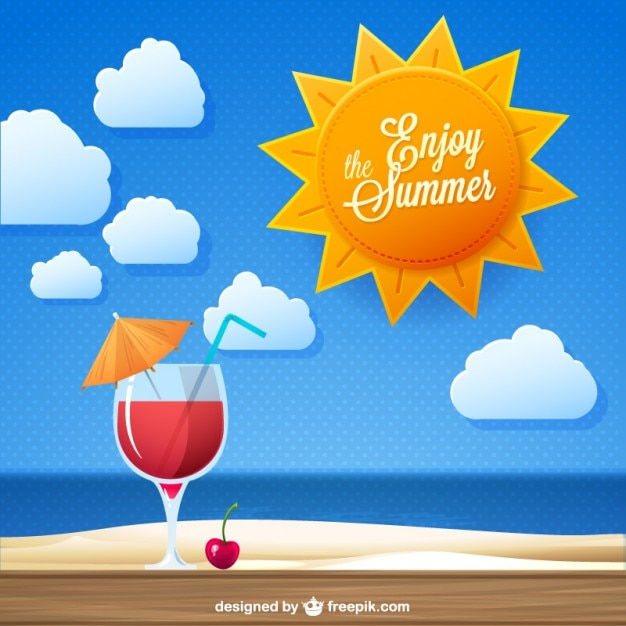 Enjoy the summer cocktail drink vector Free Vector