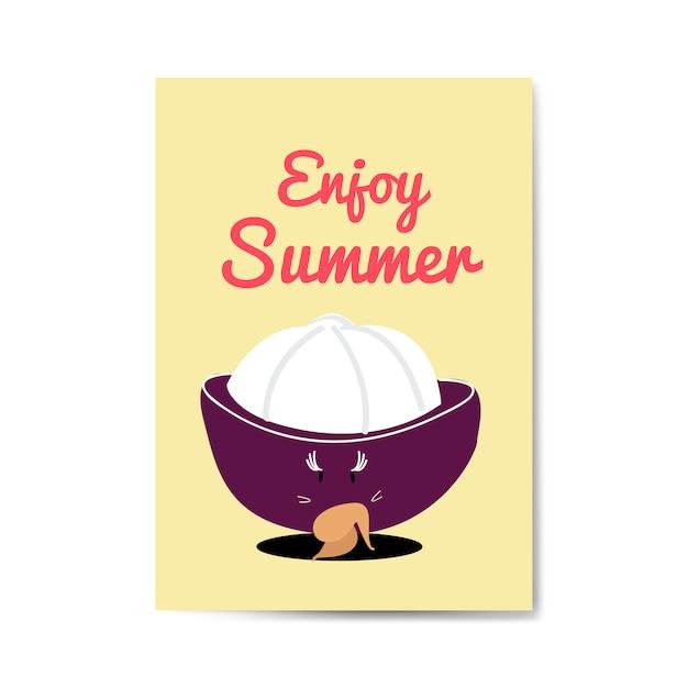 Enjoy summer with mangosteen cartoon character vector Free Vector