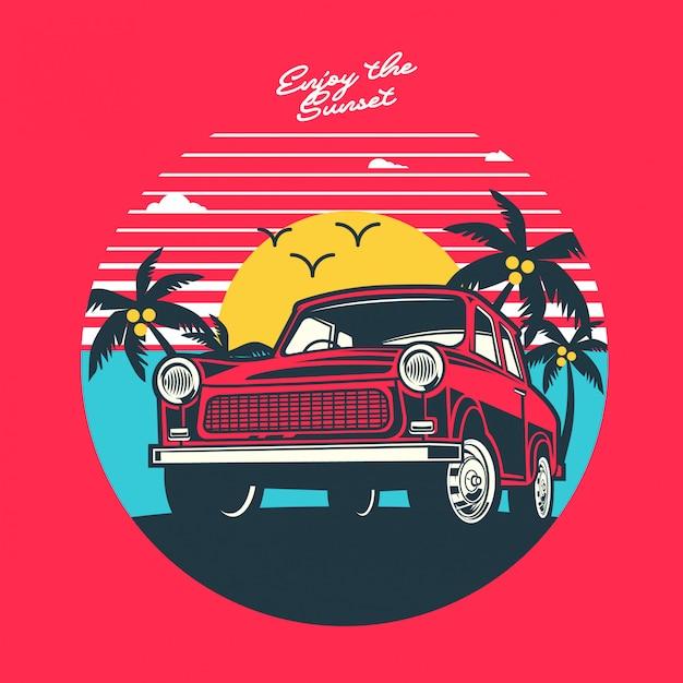 Enjoy the sunset illustration Premium Vector