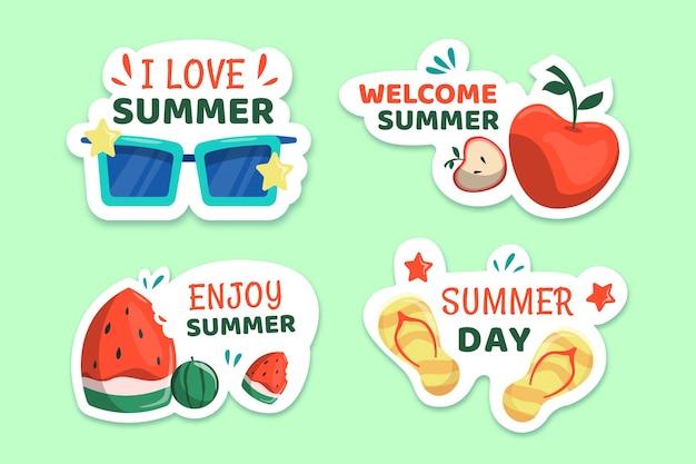 最高の夏休みラベルコレクションをお楽しみください 無料ベクター