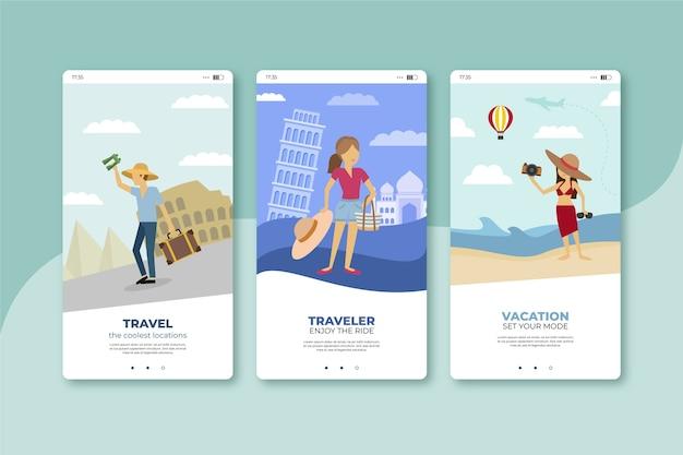 Enjoy travelling mobile app screens Free Vector