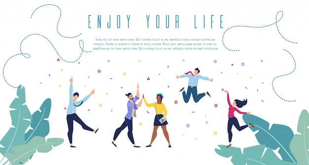 Enjoy your life flat vector banner web template Premium Vector