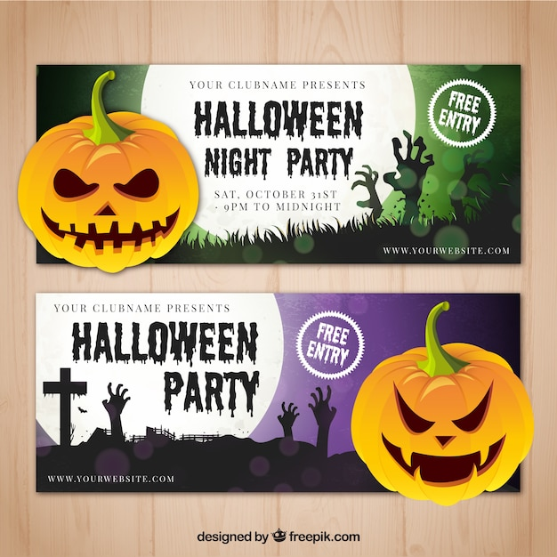 Enjoyable banners halloween party Free Vector
