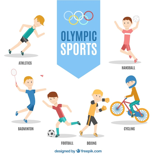 Enjoyable characters of olimpic sports Free Vector