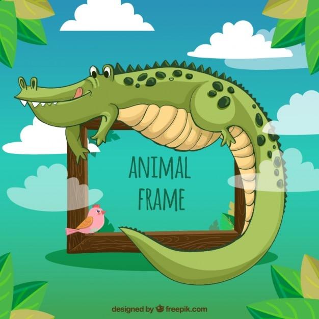 Enjoyable crocodile frame Free Vector