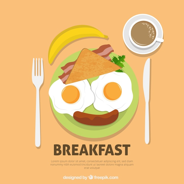 Enjoyable Face Made Up Of Breakfast Food Free Vector
