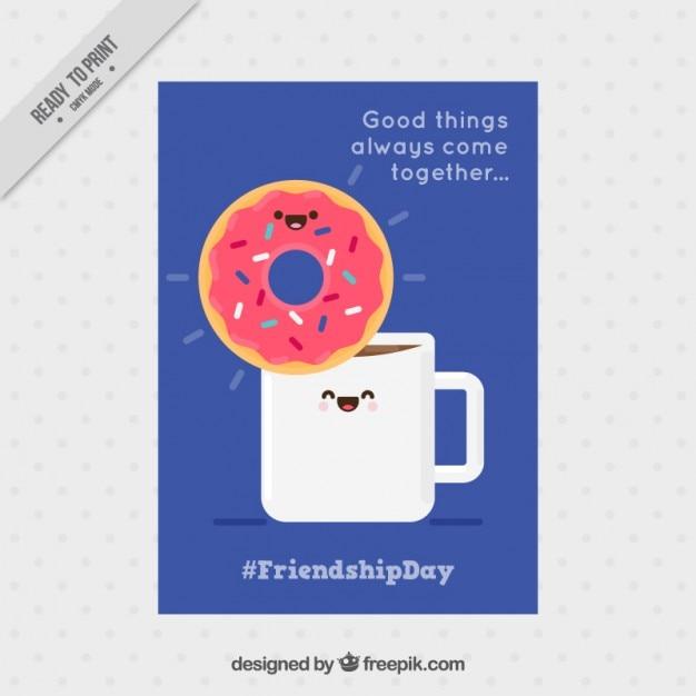 کارت دوستی لذت بخش با یک قهوه خوب و شیرینی بی شیرینی