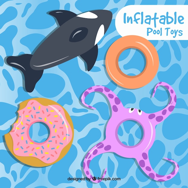 Enjoyable inflatable toys in the swimming pool Free Vector