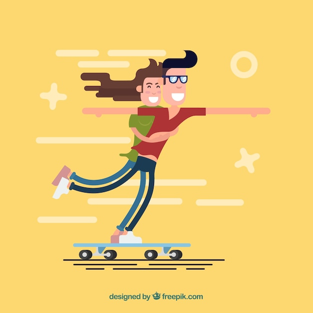 Enjoyable skater couple in flat design