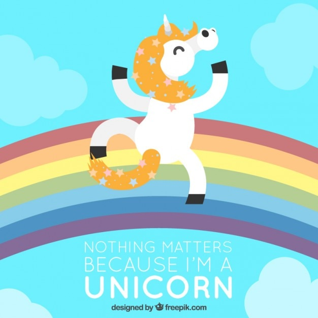 Enjoyable unicorn dancing on the rainbow\ background