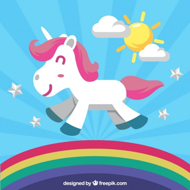 Enjoyable Unicorn Walking On The Rainbow Free Vector