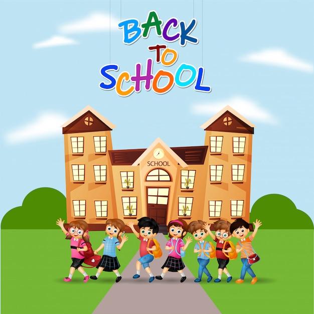 Enjoying little students in front of school building Premium Vector