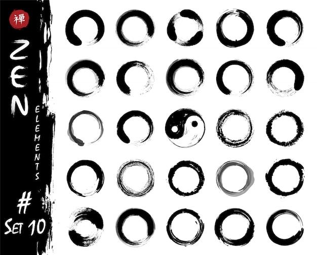 Enso zen circleは要素を設定します。インクは、水彩画の絵画のデザインを汚しています。 Premiumベクター