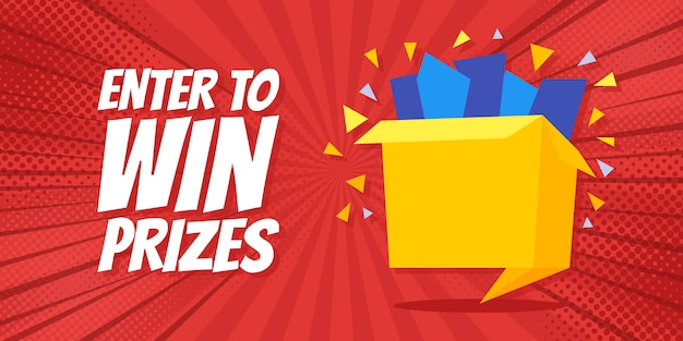 Enter to win prizes gift box banner Premium Vector