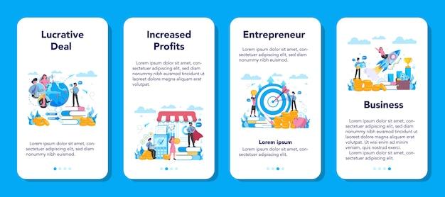 Enterpreneur 웹 배너 또는 방문 페이지 세트 프리미엄 벡터