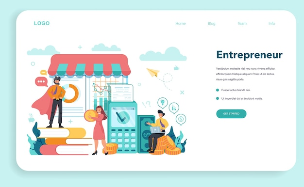 Enterpreneur 웹 배너 또는 방문 페이지 프리미엄 벡터