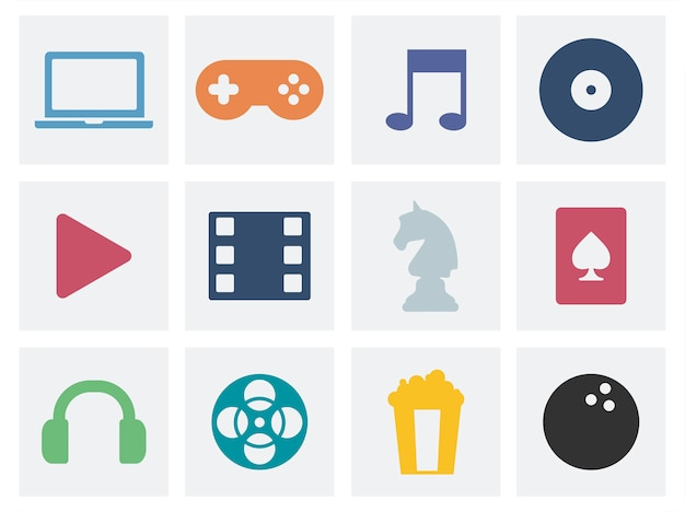 Entertainment concept graphic icons illustration Free Vector