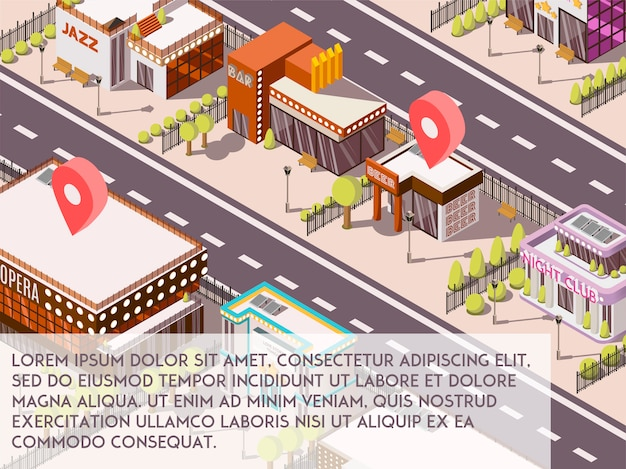 Entertainment places in city set Free Vector