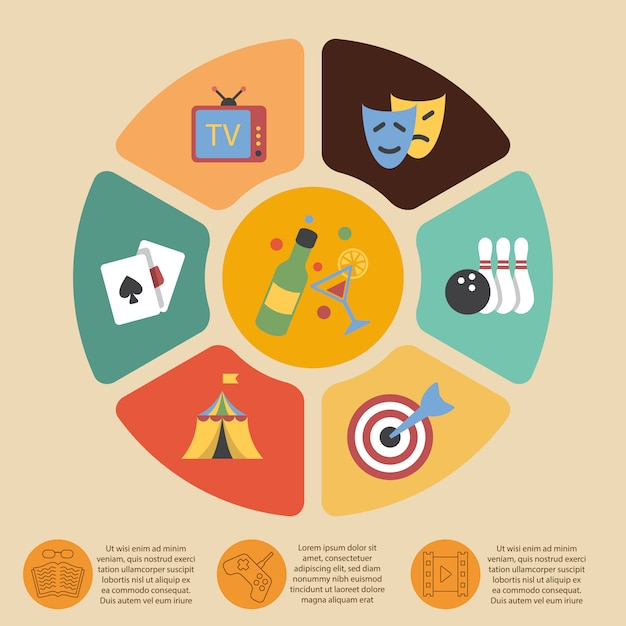 Entertainments infographic template set Free Vector