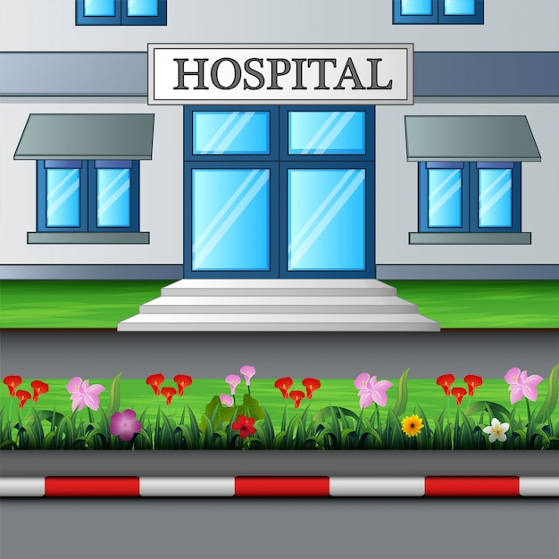 The entrance to the hospital building Premium Vector