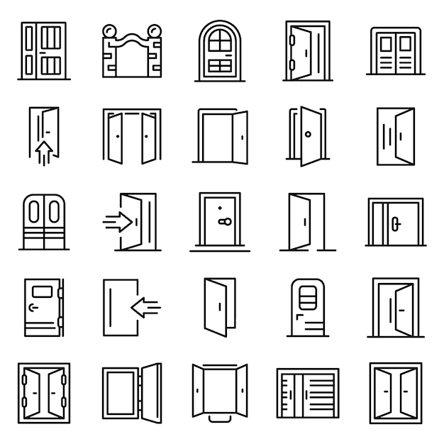 Entrance icons set, outline style Premium Vector