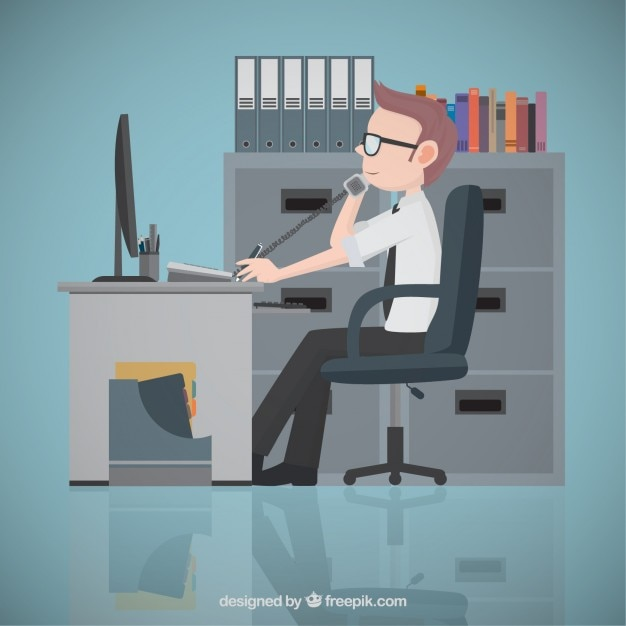 Entrepreneur at the office Free Vector