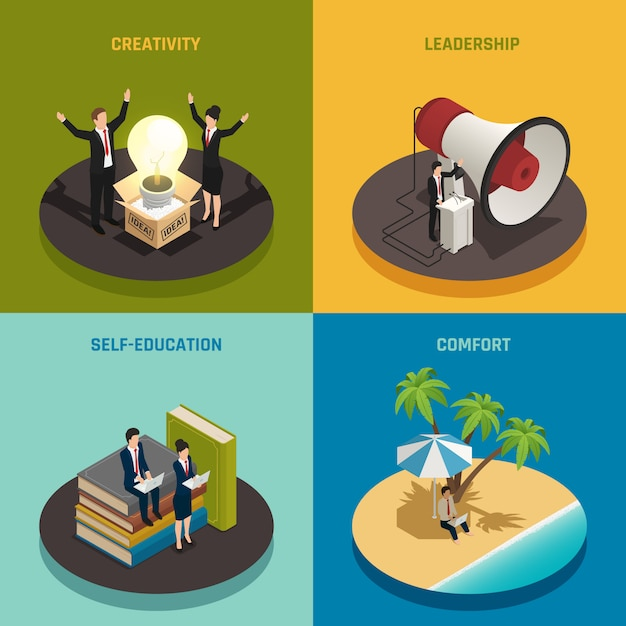 創造性リーダーシップの自己教育と快適さを備えた起業家構成 無料ベクター