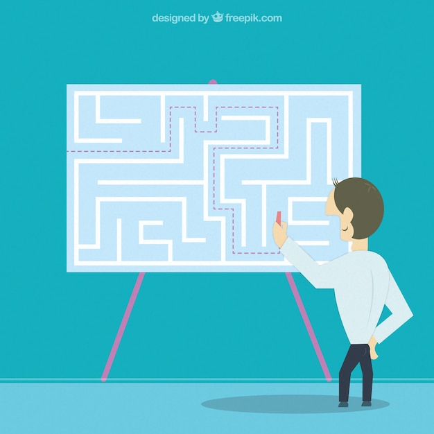 Entrepreneur finding the solution Free Vector