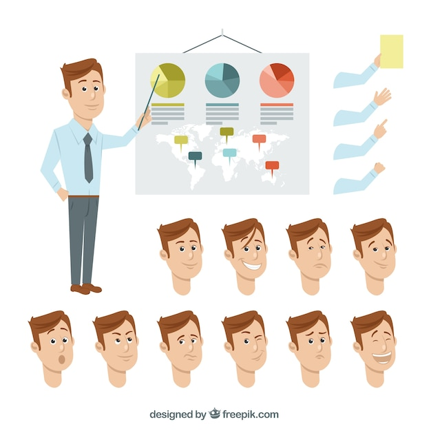 Entrepreneur gestures collection Free Vector
