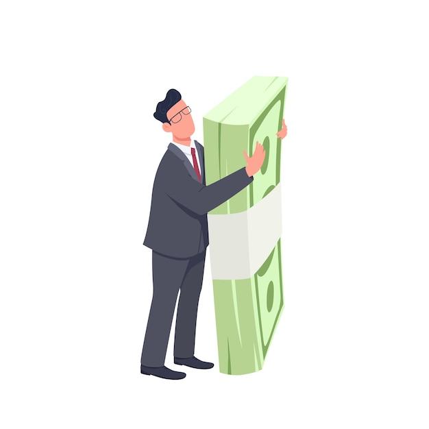 お金のバンドルフラットコンセプトイラストを保持している起業家。ウェブデザインのための大きなキャッシュパック2d漫画のキャラクターを立って抱き締める男。財政と成功の創造的なアイデア Premiumベクター
