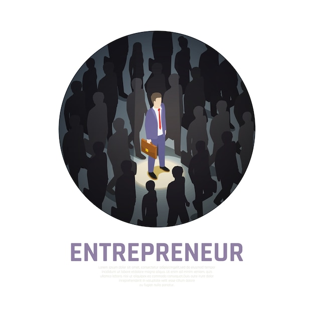Entrepreneur isometric composition illuminated business man with briefcase and surrounding silhouettes of people Free Vector