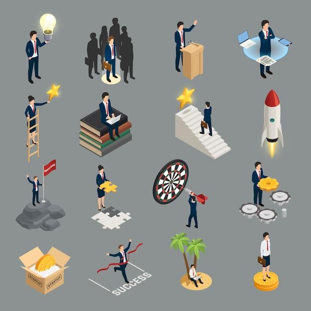 Предприниматель изометрические иконки творческий идея социальность целеустремленность самообразование и успех, изолированных на сером Бесплатные векторы