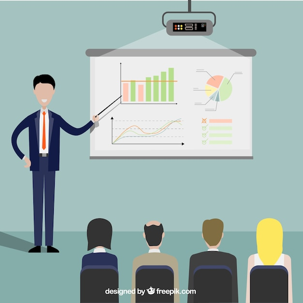 Entrepreneur in a presentation Free Vector