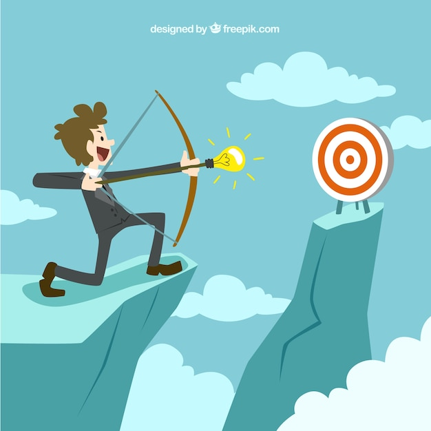 Entrepreneur trying to hit the target Free Vector