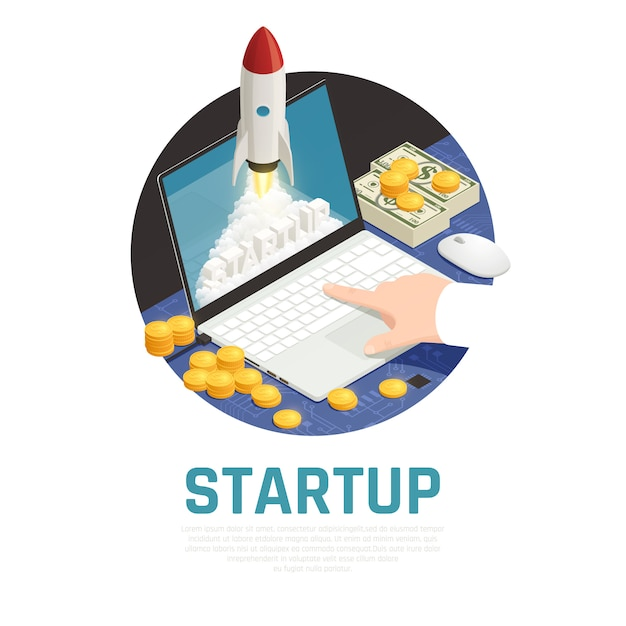 Entrepreneur with money during start up project on laptop isometric round composition Free Vector