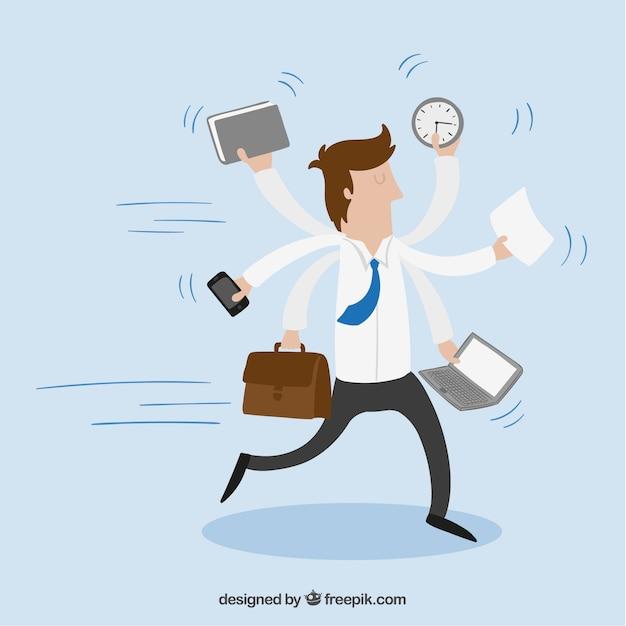 Entrepreneur with multitasking Premium Vector