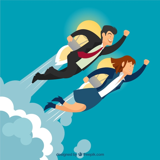 Entrepreneurs with a bulb rocket Free Vector