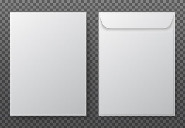 Envelope a4. paper white blank letter envelopes for vertical document Premium Vector