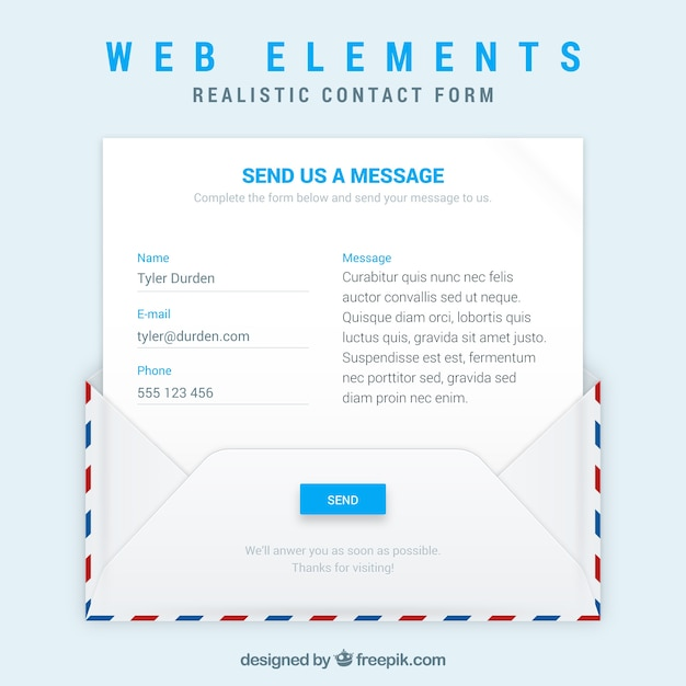 Envelope and email template with contact form Vector | Free Download