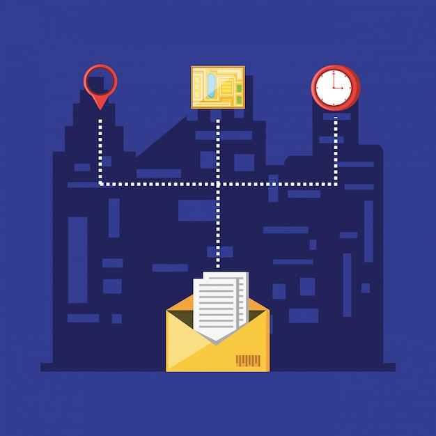 Envelope delivery logistic service with set icons Premium Vector